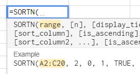 Screen capture of the SORTN function